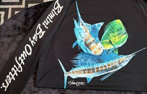 Bimini Bay Outfitters HOOK'M Cabo Crew Fishing Shirt MARLIN Men's Size L