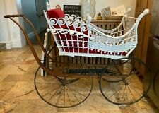 Antique Heywood Brothers Large Wicker Baby Carriage Buggy with 100%  Rare 1870s