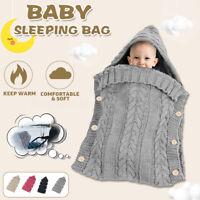 Infant Newborn Baby Boy Girl Warm Swaddle Wrap Sleeping Bag Knit Crochet Blanket