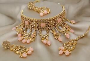 Ethnic Gold Plated Fashion Indian Bollywood AD Stone Choker Jewelry Setss