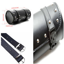 1x PU Leather Motorcycle Handle Tool Bag Luggage Bike Round Barrel Storage Pouch