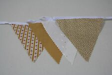 Autumn Gold Cotton Fabric Bunting Gold/Cream Mix Single side 10m/32ft