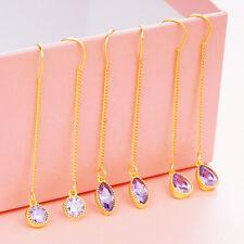 Fashion Geometry CZ Ear Thread Drop line Earrings 18K Gold Filled Lover Jewelry