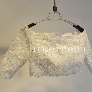 Off Shoulder Wedding Dress Jacket 3/4 Illusion Sleeves White/Ivory Lace Boleros