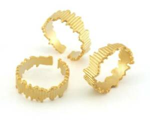 Minimalist Band Ring  Adjustable Antique Matte Gold plated Brass 7-10 US 3957