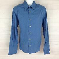 Claiborne Men's XL Blue Detailed Modern Fit Cuff Link Long Sleeve Casual Shirt