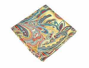 Lord R Colton Masterworks Pocket Square - Leeds Gold & Teal Silk - $75 New