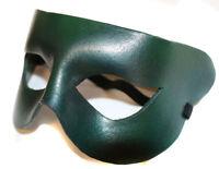 Green Simple Superhero  Leather Handmade Mask Venetian Masquerade
