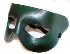 Verde Semplice Supereroe Vera pelle Artigianale Maschera Travestimento Veneziano