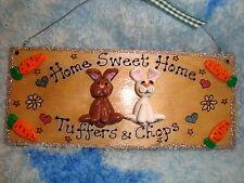 3d personalizzato 2 caratteri Bunny Rabbit/Porcellino D'India House Hutch Segno Di Placca