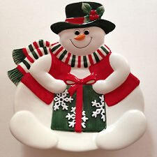 """Fitz And Floyd Holiday Snowman Canape Plate 8.5"""" Tall New In Box"""