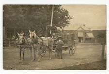 RPPC Horse Wagon Henry County Review Newspaper HOLGATE OH Real Photo Postcard