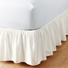 Simple Tuck 21 in. Gathered Solid Ivory California King Bed Skirt
