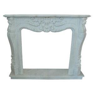 Fireplace Style Louis XVI White Marble Classic Stone Carrara