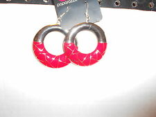 """Paparazzi Earrings (new) ROUND SILVER & RED W/""""CRACKLE"""" LINES"""