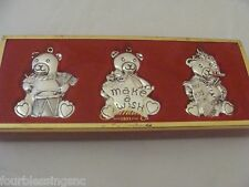 GORHAM SILVER PLATED TEDDY BEAR ORNAMENT SET-NEW IN BOX-MAKE A WISH-HEARTS-DRUM
