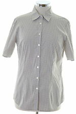 Tommy Hilfiger Womens Shirt Size 8 Small White Check Cotton Loose Fit