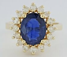 2.3 ct 14K Yellow Gold Oval Natural Sapphire & Diamond Fashion / Engagement Ring