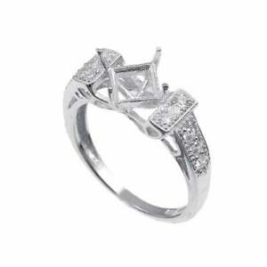 Silver 5 mm Square Solitaire Engagement Ring Setting 5 mm Square Semi Mount
