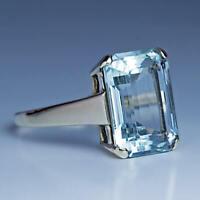 13*16 MM Aqua Light Emerald Cut Diamond Vintage Style Engagement Ring 925 Silver