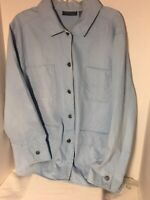 Relativity Woman Jacket Denim  Sz 2X  Light Blue Button Up Casual Cotton Blend