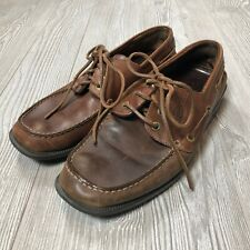 Ecco Brown Leather Lace-up Boat Shoes Men's 43