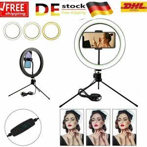 10'' LED RingLicht Ringleuchte Handyhalter Kit Selfie Fotografie Beauty Lampe