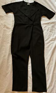 ASOS Black Crepe Wrap Playsuit Pantsuit Romper Jumpsuit Pants Shirt Size 8 EUC