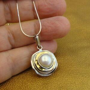 Hadar Designers  9k Yellow Gold Sterling Silver Pearl Pendant Handmade (ms) SALE