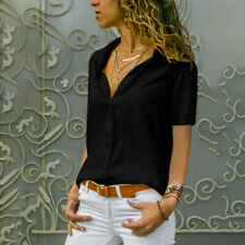 Women Short Sleeve Blouse V-Neck Office OL Work Loose Top Shirt Busines Tee Plus