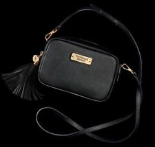 Victoria's Secret Black Crossbody Bag Clutch With Strap and Tassel