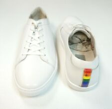 NEW KENNETH COLE WHITE KAM GAY PRIDE LEATHER LACE UP SNEAKER SHOES 11M