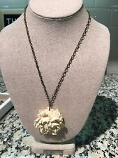 Necklace with Ivory resin Flower, Bronze Chain
