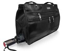 Leder Handtaschen Damen Schultertasche Regenschirm + 9 Taschen M Schwarz QL172