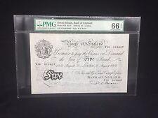 1951 Great Britain, Bank Of England £5 Pound P-344 B270 PMG 66 EPQ