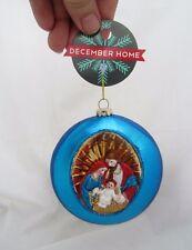 December Home Blue Christmas Ornament Baby Jesus Manger Diorama Nativity Scene