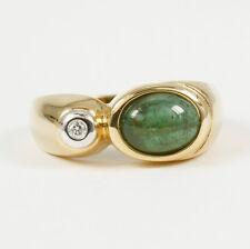 Clásico Anillo Oro 585 con Verde Turmalina y brillante 0,03 ct.w.si