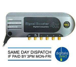 TV Booster SLX Gold 4 Way  Signal Distribution Amplifier with 4G Filter DAB FM