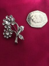 Rhinestones In A Flower Pattern A Stunning Silver Tone Brooch With