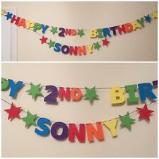 Personalised Birthday Bunting / Banner - Rainbow Colours - Age & Single Name