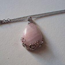 Pendentif goutte, pierre fine naturelle quartz rose et chaîne argent 925, neuf