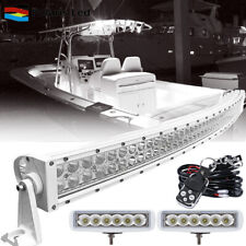 "Curved LED Light Bar + 6"" 18W LED Pods Work Lamp Offroad Marine Deck Boat -White"