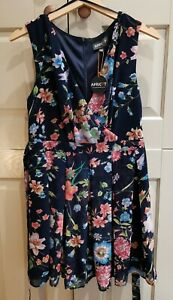 Apricot Dress. Navy floral pattern. Size 12. New with tags! Fast Post!!