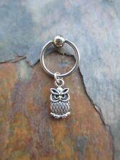 "Silver Cute Owl Cartilage Piercing Captive Ring Tragus Earring 16 Gauge 1/2"""