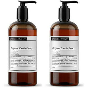 2 x 500ml Organic Castile Liquid Soap, 100% Pure & Natural, Surfactant Free