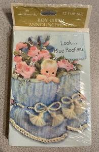 Vintage 12-Hallmark Boy Birth Announcements NIP NOS Baby in Blue Booties
