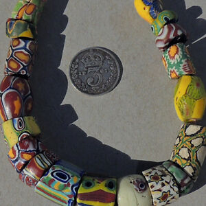 a variety of 18 old antique venetian millefiori african trade beads #4908