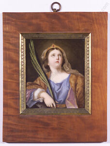 """""""St.Catherine"""", after Guido Reni, Porcelain Painting, early 19th century"""