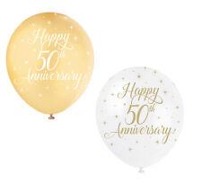 5x Feliz 50 Aniversario Globo Boda Dorada Decoración Fiesta Dorado y Blanco