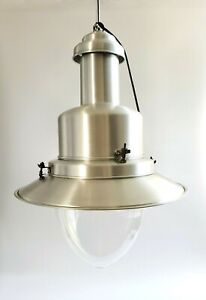 Pendant Lamp LARGE Spun Aluminum with Schott Suprax Glass Globe Ceiling Light